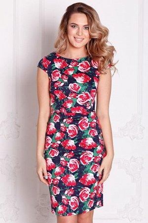 Платье Снежана розы на синем (П-39-5)