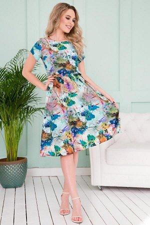 Платье Милена цветочная абстракция (П-42-8)