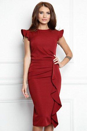 Платье из костюмной ткани цвет марсала (П-37-6)