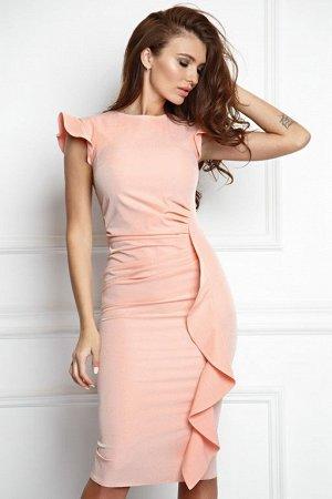 Платье из костюмной ткани цвет персик (П-37-8)