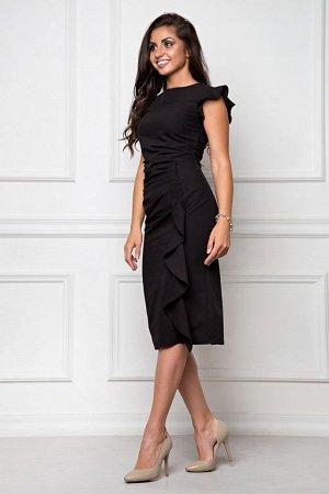 Платье из костюмной ткани черный (П-37-2)