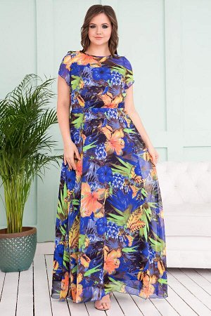 Платье из шифона оранжевые цветы (Пб-54-7)