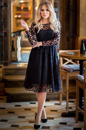 Платье Изольда цвет черный горошки (П-140-10)
