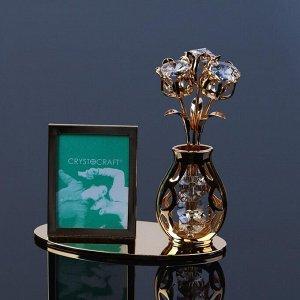 Фоторамка «Цветок», 10,3*10*4.5 см, с кристаллами Сваровски