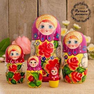 Матрёшка «Розочка», сиреневый платок, 5 кукольная, 18 см