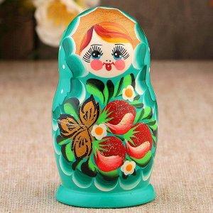 Матрёшка «Земляничка», голубое платье, 3 кукольная, 10 см