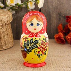 Матрёшка «Рябинка», красный платок, 5 кукольная, 17 см