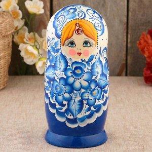 Матрёшка «Гжель», синее платье, 5 кукольная, 18 см