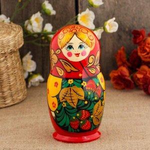 Матрёшка «Земляничка», красный платок, 5-ти кукольная, 17 см