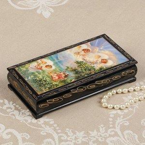 Шкатулка - купюрница «Игривые ангелочки», 8,5?17 см, лаковая миниатюра
