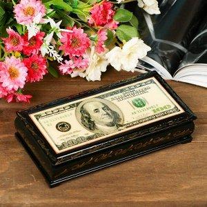 Шкатулка - купюрница «Доллар», 8,5?17 см, лаковая миниатюра