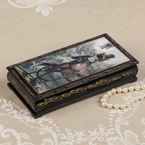 Шкатулка - купюрница «Кот», 8,5?17 см, лаковая миниатюра