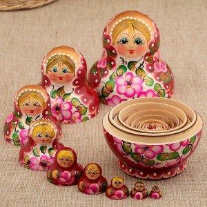 Матрёшка «Цветочки», розовое платье, 10 кукольная, 12 см
