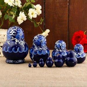 Матрёшка «Гжель», синее платье, 10 кукольная, 13 см