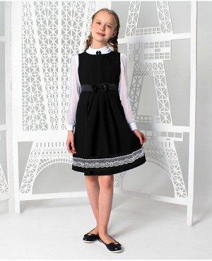 Школьный  сарафан с кружевом,черный 83571-ДШ19