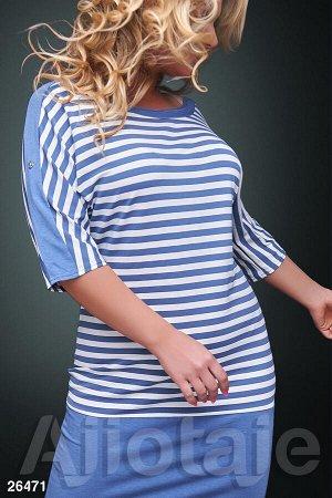 Платье-туника в полосочку с вырезом лодочка