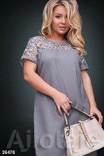 Льняное платье серого цвета с коротким рукавом