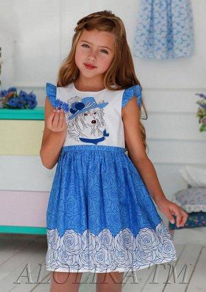 Тося синий Легкое, почти воздушное платье из натурального 100%-ого хлопка для маленьких модниц. Модель с рукавами-крылышками, застежкой-молнией на спинке и поясом, который завязывается сзади в бант, н
