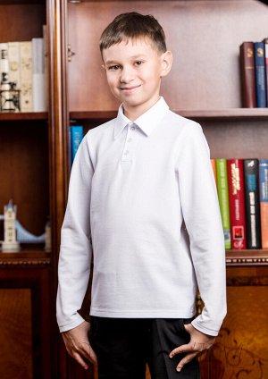 Макс белый Джемпер поло для мальчика с длинным рукавом. Состав: 100% хлопок