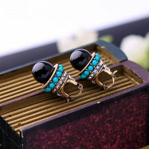 Серьги в ретро стиле черный кристалл