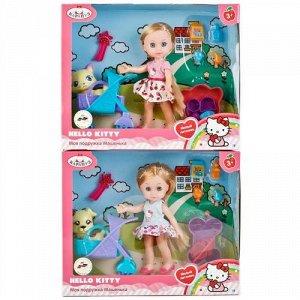 """Кукла """"Карапуз"""" Hello Kitty. Машенька с питомцем в коляске, кор. 25*20*7,5 см"""