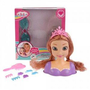"""Кукла-манекен для создания причесок """"Карапуз"""" Принцесса в фиолетовом платье , кор. 20,5*21*8,5 см"""