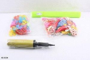 Набор воздушных шаров 50 шт. с насосом ,+ палочка с розеткой , пак.