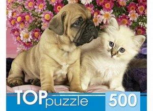 Пазлы 500 Щенок и котенок