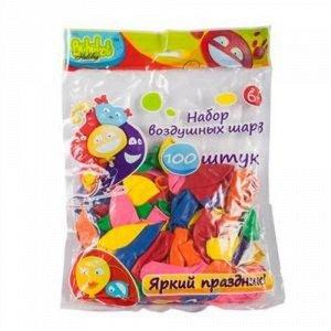 Набор шариков Bebelot Сердце , 25 см, 100 шт. ,разноцветные пакет.