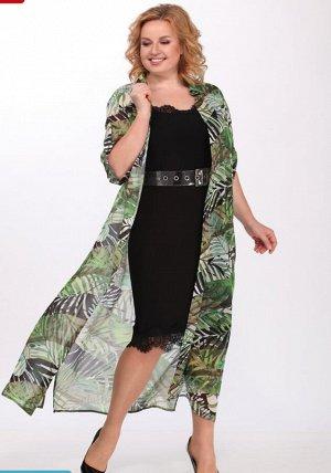 Стильный женский комплект 2-ка, состоящий из длинного платья и блузона.
