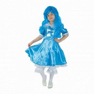 """Детский карнавальный костюм """"Мальвина"""", р-р 28, рост 98-104 см, цвет ярко-голубой"""