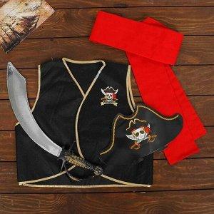 Карнавальный костюм «Полундра», жилетка, шляпа, пояс, меч