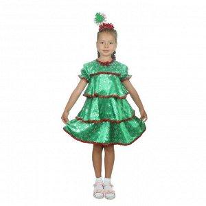 """Карнавальный костюм """"Ёлочка со снежинками"""", атлас, платье ярусами, ободок, р-р 30, рост 110-116 см"""
