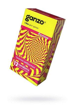 Презервативы Ganzo Extase, с точечно-ребристой поверхностью, анатомической формы, латекс, 18 см, 12
