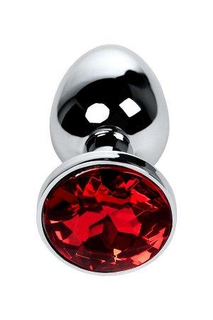 Анальная втулка Metal by TOYFA, металл, серебристая, с кристаллом цвета рубин, 7,1 см, ? 2,7 см, 150