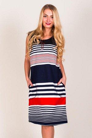 Платье М.160 (Красно-бел.полосы на т.син)