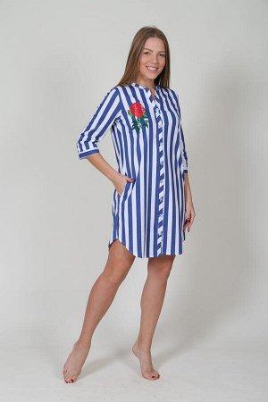 Рубашка-туника М.228 (Синяя полоса на белом)