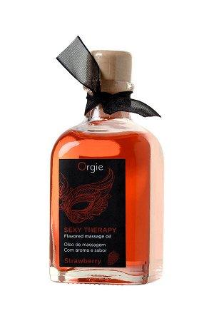 Комплект для сладких игр Orgie Lips Massage со вкусом клубники (массажное масло для поцелуев, перо и