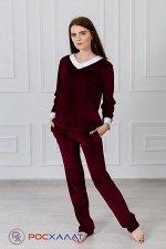 Женский костюм из велюра, брюки и лонгслив