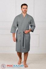 Мужской укороченный вафельный халат с планкой