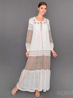 Платье Состав: лен Платье выполнено из натурального вологодского льна. Классическое, длинное платье выполнено в форме трапеции, пожалуй, один из самых удобных фасонов платьев. Платье дополнено ажурным
