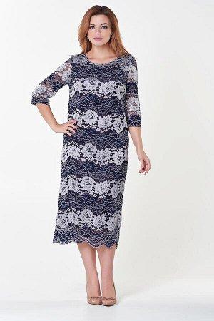 Платье Инна №4. Цвет:белый/синий