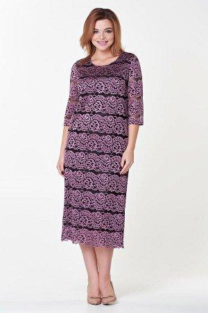 Платье Инна №6. Цвет:розовый/черный