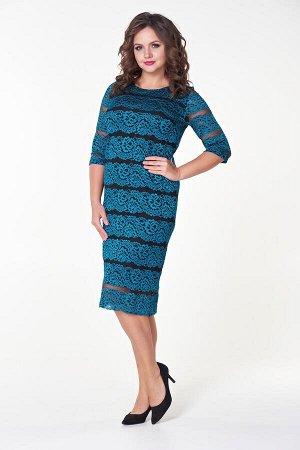 Платье Инна №9. Цвет:зеленый/черный