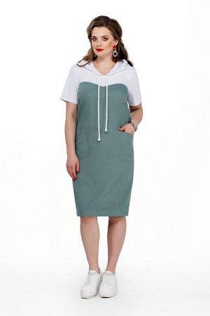 Платье Платье TEZA 193 хаки светлый  Состав ткани: Хлопок-96%; Эластан-4%;  Рост: 164 см.  Платье женское прямого силуэта с втачными рукавами. Платье двухцветное: Капюшон, рукава и кокетки белые, а н