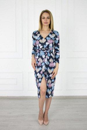 Платье 537 сердце (на запах, длинный рукав)