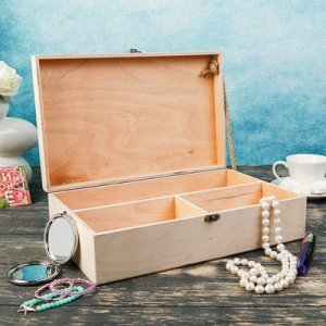 Подарочный ящик 34?21.5?10.5 см деревянный 3 отдела, с закрывающейся крышкой, без покраски