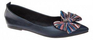 Туфли женские т.синий иск.кожа/текстиль