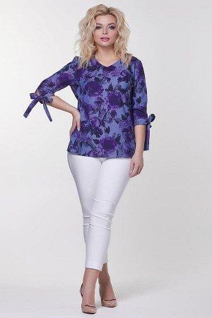 Блузка Хейли №2.Цвет:синий/сиреневый