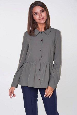 Блузка Камея №3.Цвет:хаки.Цвет:Стильная блузка полуприлегающего силуэта из однотонной блузочной ткани. Длинные втачные рукава на